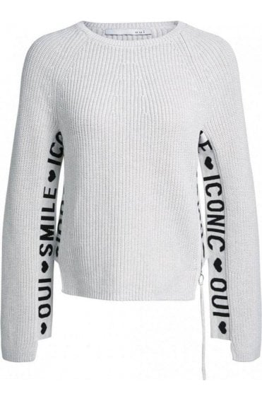 Off White Ribbed Knit Jumper