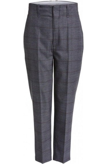 High Waisted Check Trousers