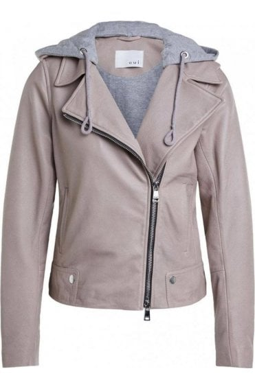 Light Stone Hooded Leather Jacket