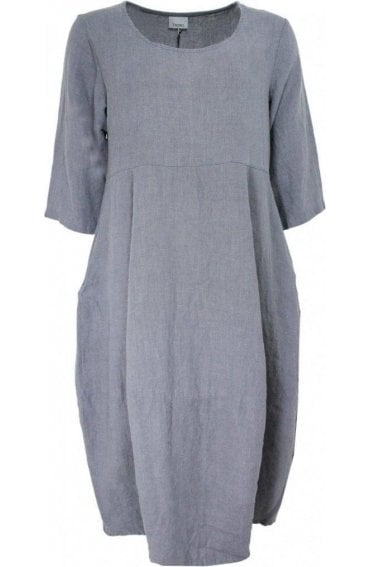 Grey Linen Tulip Dress