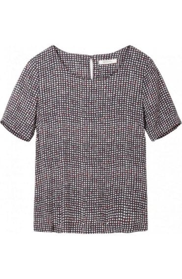 Grey Square Print Blouse