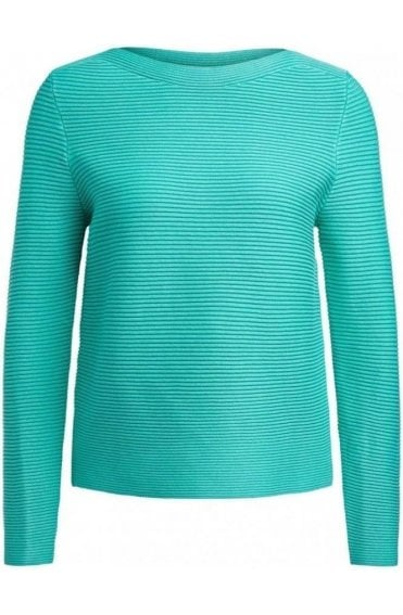 Holly Green Ribbed Knit Jumper