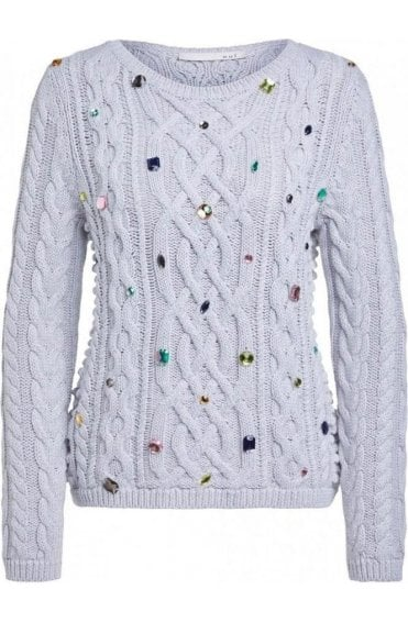 Jeweled Cable Knit Jumper