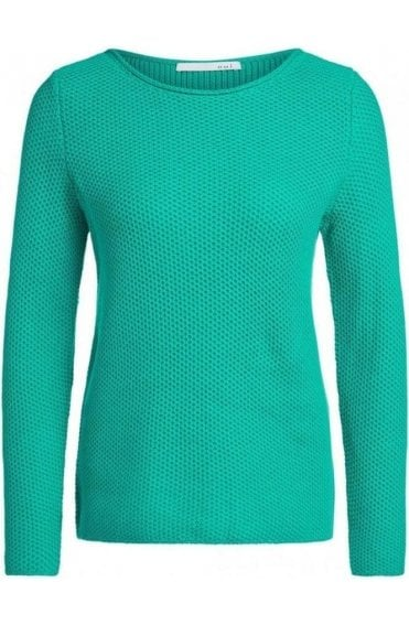 Holly Green Woven Knit Jumper