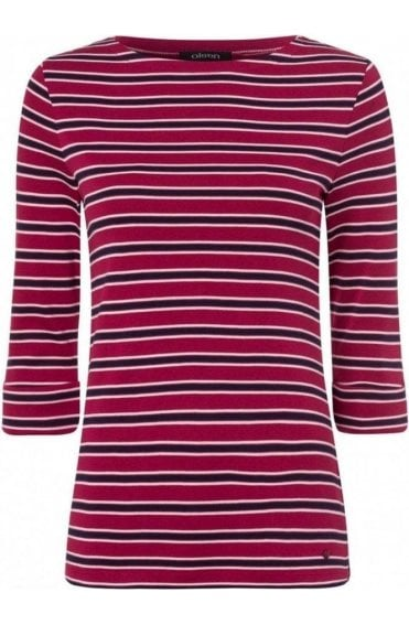 Barolo Red Striped Jersey Top