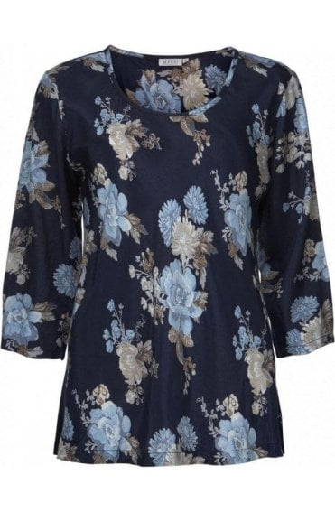 Kia Blue Floral Print Top