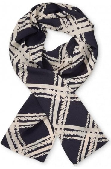Along Navy Patterned Scarf