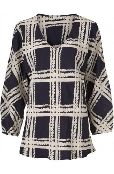 Bess Navy Patterned Top