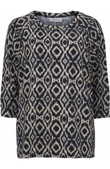 Bonnie Navy & Cream Patterned Top