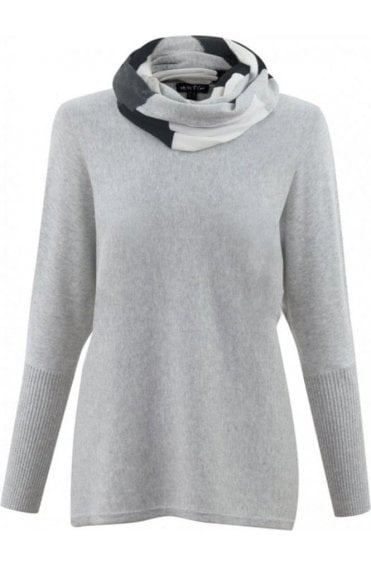 Grey Jumper with Striped Snood