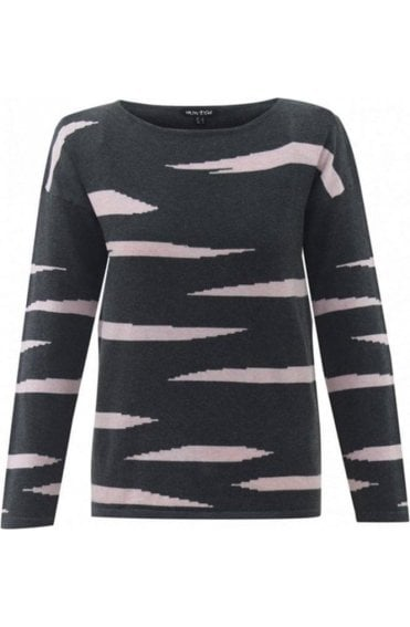 Pink & Grey Stripe Design Jumper