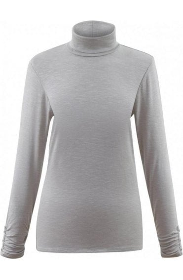 Grey Jersey Roll Neck Top