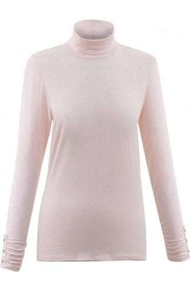 Pink Jersey Roll Neck Top