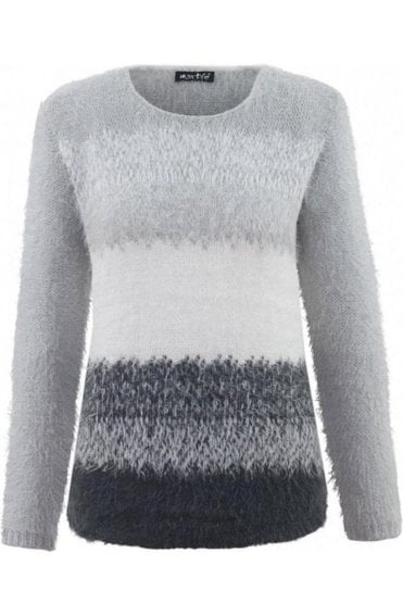 Textured Knit Grey & White Jumper