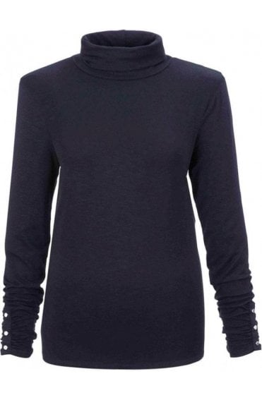 Black Jersey Roll Neck Top