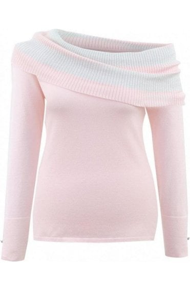 Pale Pink Cowl Neck Jumper