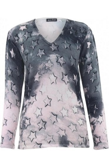 Grey & Pink Star Print Jumper