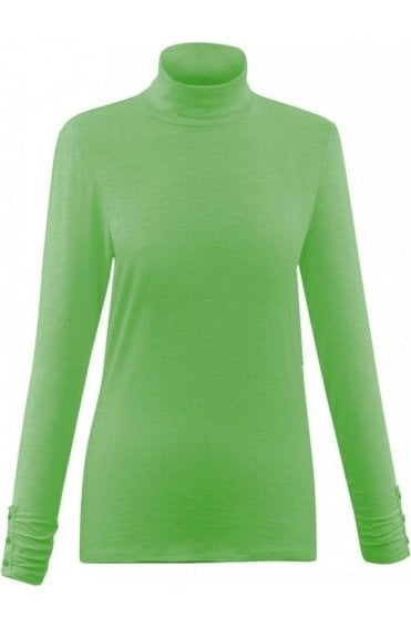 Green Jersey Roll Neck Top