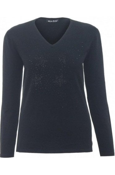 Black Rhinestone Star Jumper