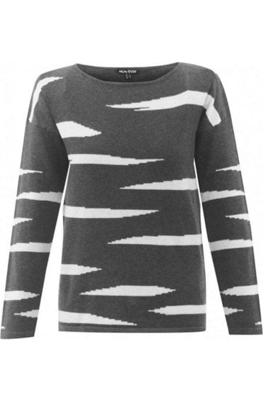 Grey Striped Design Jumper