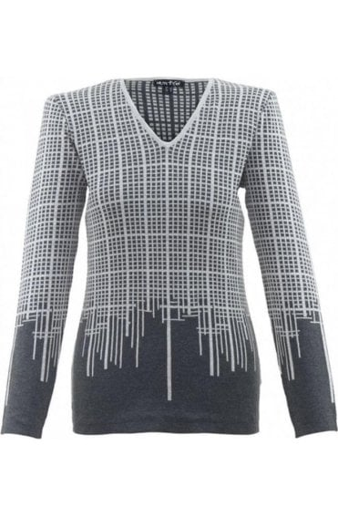 Grey Check Print Jumper