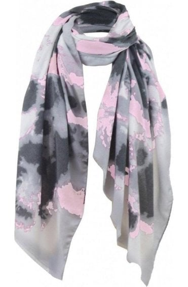 Pale Pink & Grey Patterned Scarf