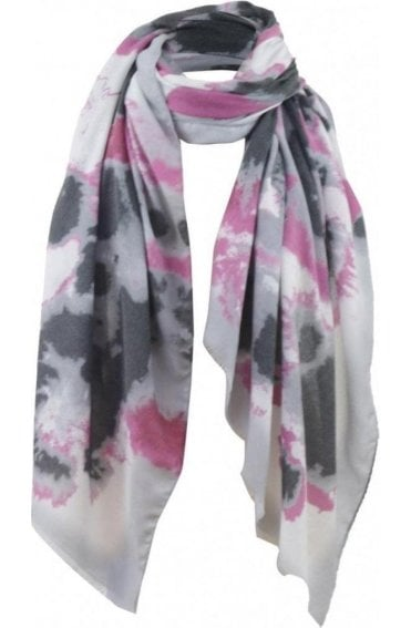 Pink & Grey Patterned Scarf