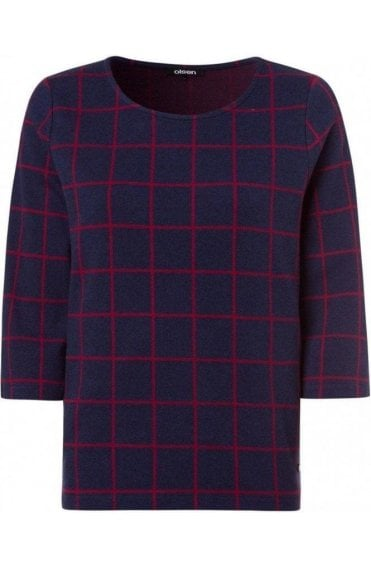Blue & Red Check Top