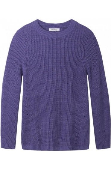 Dark Violet Ribbed Knit Jumper