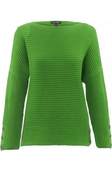 Green Ribbed Knit Jumper