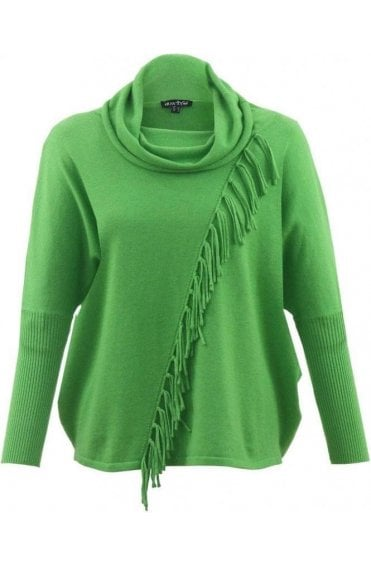 Green Cowl Neck Tassel Jumper