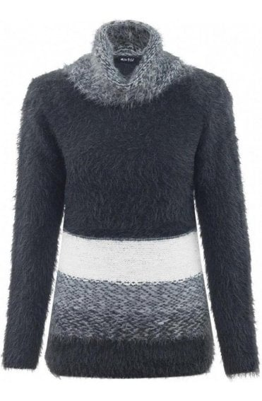 Textured Knit Cowl Neck Jumper