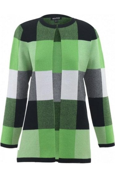 Green Check Print Cardigan