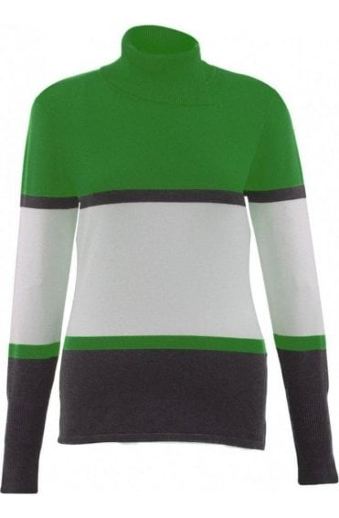High Neck Block Design Jumper