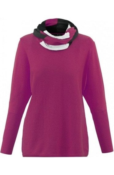 Pink Jumper with Striped Snood