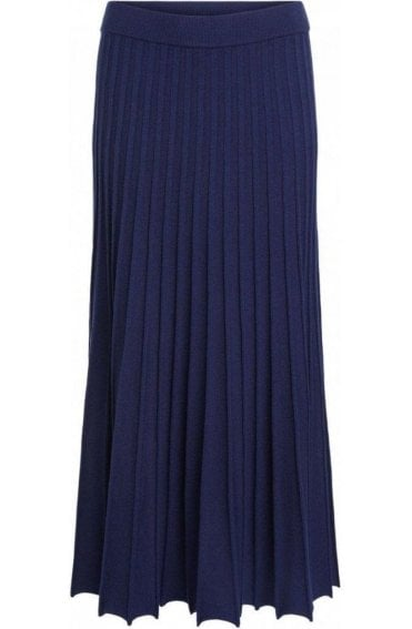 Navy Pleated Knit Skirt