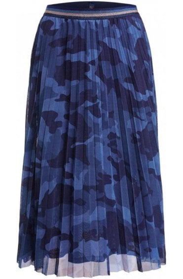 Blue Patterned Pleated Skirt