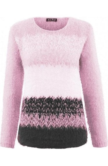 Textured Knit Pink & Grey Jumper