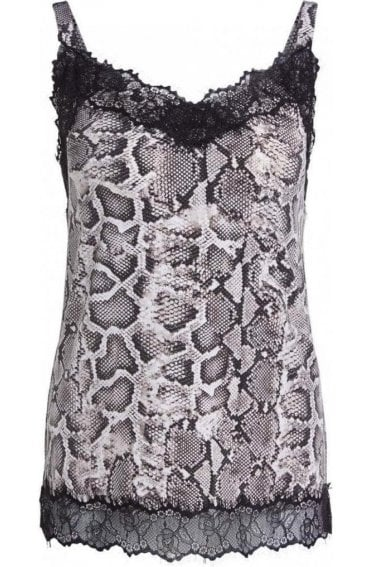 Snake Print Lace Detailed Vest Top