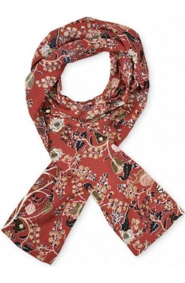 Along Red Orchard Floral Scarf