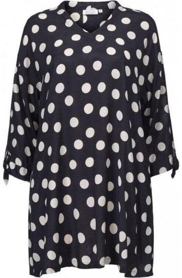 Grassa Black spotted patterned tunic