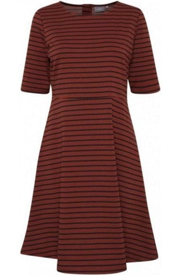 Dark Copper Striped Dress