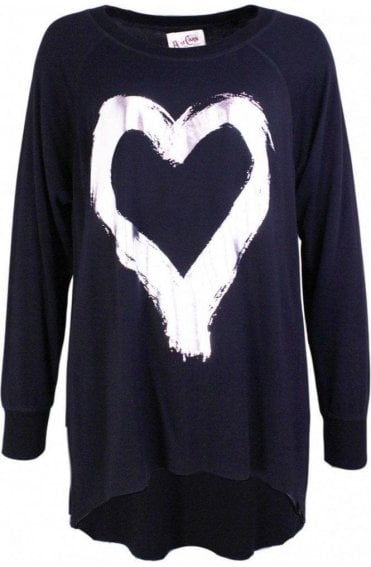 Hearty Black Heart Design Top