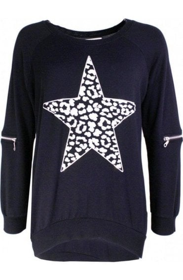 Star Black Jersey Top