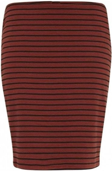 Copper Striped Jersey Skirt