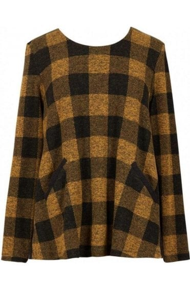 Honey Contrasting Check Top