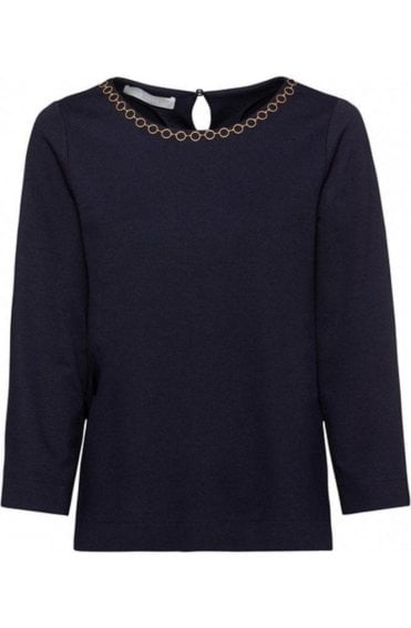 Navy Chain Detailed Top