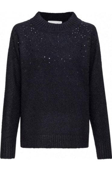 Navy Sequin Detailed Jumper