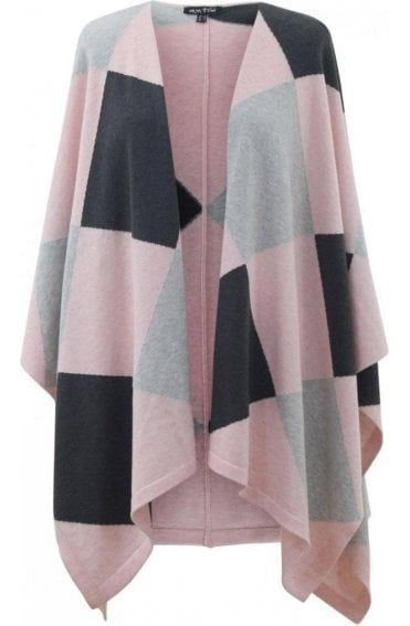 Pink & Grey Knit Cape