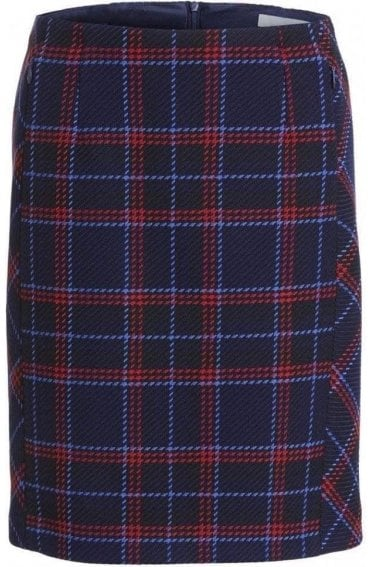 Navy & Red Check Skirt
